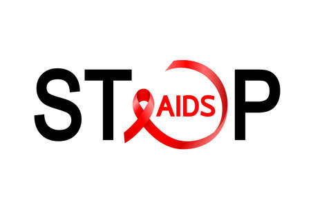 Stop lettering design with red ribbon. World AIDS day. AIDS Awareness ribbon. Illustration isolated on white background.