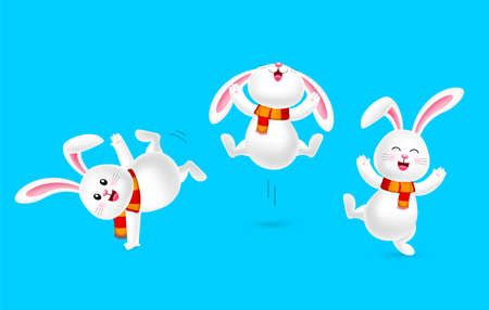 White rabbit with scarf dancing. Merry Christmas and happy new year. Cartoon character design, illustration isolated on blue background.