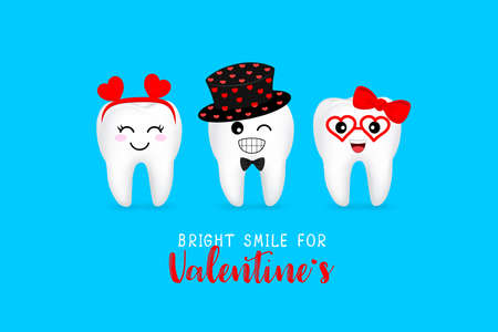 Cute cartoon tooth character with heart. Bright smile for Valentines concept. Illustration isolated on blue background. 일러스트