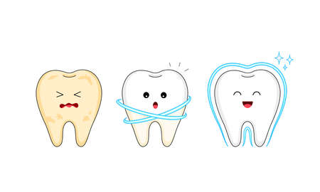 Step of  cleaning tooth character. Care and protection from tooth decay. Dental care concept. Illustration isolated on white background. Stock Illustratie