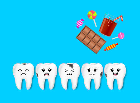 Decay tooth character with sweet food. Dental care concept. Illustration isolated on blue background.