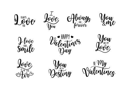Set of black and white hand written lettering phrase about love to valentines day. Calligraphy vector illustration collection design for poster, greeting card, photo album, banner.
