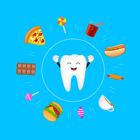 Cute cartoon tooth protected from sweet food. Dental care concept. Illustration isolated on blue background. Stock Illustratie