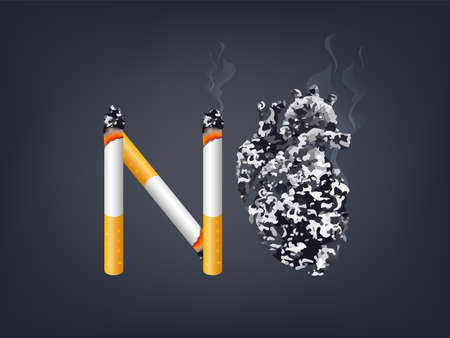 Cigarette with abstract black human heart. Stop smoking, World no tobacco day. Smoking is harmful to human organs. Resulting in organ damage and premature. Illustration.
