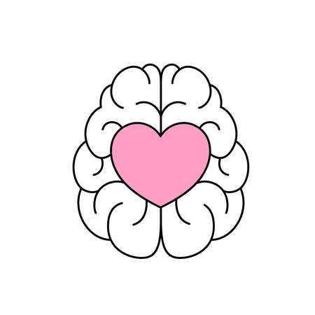 A heart shape in abstract human brain. Emotional intelligence concept. Icon design. Vector illustration isolated on white background.