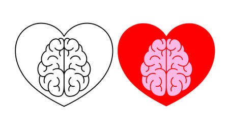 Emotion over concept. Use brain and heart, vector illustration isolated on white background.