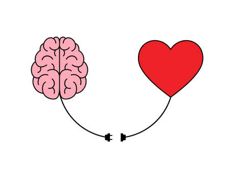 Connection between logic and emotion concept. Human brain and heart shape. Illustration design isolated on white background.