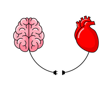 Connection between logic and emotion concept. Human brain and human heart. Illustration design isolated on white background.
