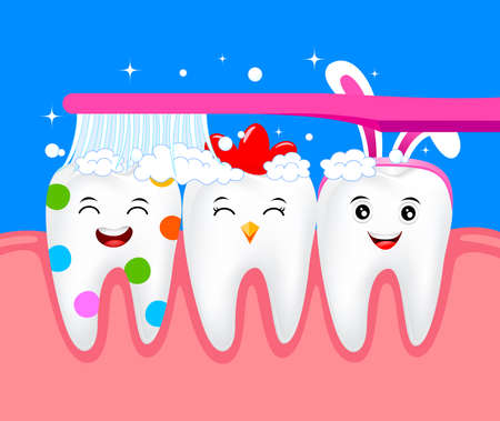 Funny Easter cartoon tooth character with toothbrush. Happy Easter day concept. Illustration.