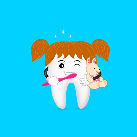 Cute cartoon tooth character brushing with smiley face. Dental care concept. Illustration isolated on blue background.