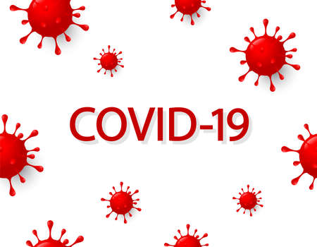 Inscription COVID-19 with abstract virus graphic. World Health Organization WHO introduced new official name for Coronavirus disease named COVID-19. Illustration on white background.