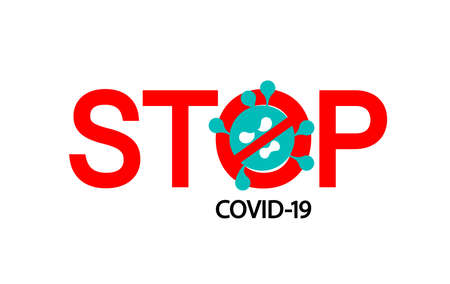 Coronavirus icon with red prohibit sign. Stop Coronavirus concepts. Dangerous Coronavirus Cell, Illustration on white background.
