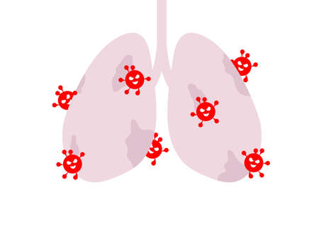 Lung  disease with virus. Virus cells eating lung. Damaged lung with coronavirus. Vector illustration on white background.
