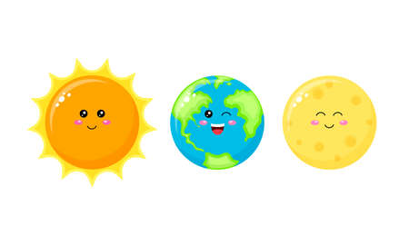 Collection of cute cartoon character. Sun, Earth and Moon. Vector illustration isolated on white background.