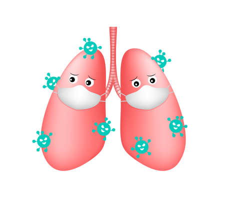 Virus cells in lung. Infected lungs. Cartoon internal organs character  design. Illusrtation on white background.