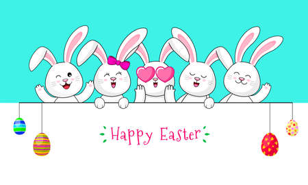 Cute cartoon white rabbits with Easter eggs. Happy Easter day concept.  Cartoon character design, vector illustration.