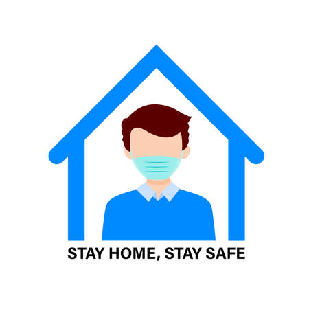 Stay home during the coronavirus epidemic. A man staying at home in self quarantine, protection from virus. Coronavirus outbreak concept. Vector illustration in flat style. Ilustração
