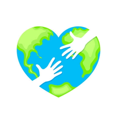 human hands in the globe heart shape. Cooperation and participation concept. World Environment Day icon design of poster, card and banner. Illustration isolated on white background.
