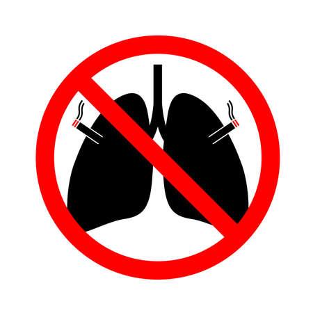 禁止吸烟标志与人肺。图标设计。世界无烟日。矢量插图孤立在白色背景。