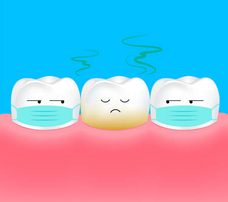 Unhealthy Tooth. Tooth is halitosis or bad breath. Dental care concept. Illustration. Illustration