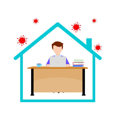 Work at home concept design. Freelancer man working on laptop at his house. Vector illustration isolated on white background. Online study, education. Illustration