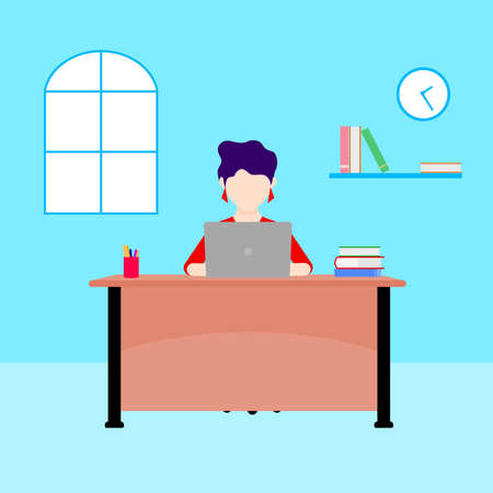 Work at home concept design. Woman working on laptop at her house. Vector illustration isolated on blue background. Online study, education.