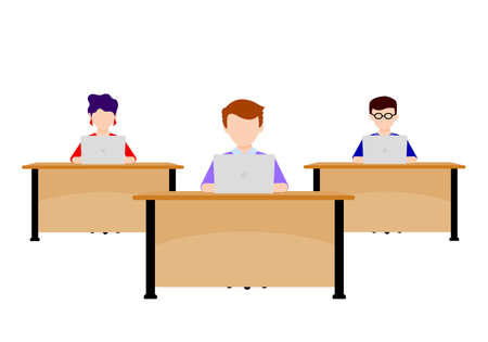 Group of officer working laptop on desk at office. Vector illustration isolated on background.