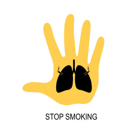 Abstract human lung with cigarette. Stop smoking concept. World no tobacco day. Smoking is harmful to human organs. Resulting in organ damage and premature. Illustration.
