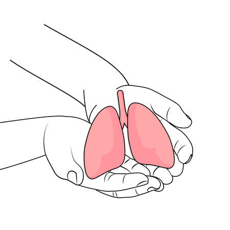 Human hands holding lung. world tuberculosis tb day. world no tobacco day. Lung cancer,  coronavirus, covid-19 virus, pandemic, eco air pollution; organ donation concept. Vector illustration.