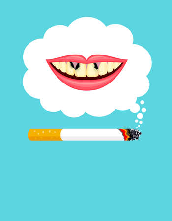 Stop smoking poster, World no tobacco day. Smoking is harmful to human teeth. Resulting in organ damage and premature. Illustration. Illustration