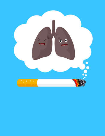 Stop smoking poster, World no tobacco day. Smoking is harmful to human organs. Resulting in organ damage and premature. Illustration.