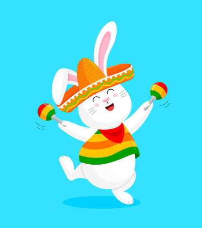 Mexican rabbit character in vivid pocho and sombrero. Cute cartoon dancing.  Vector illustration isolated on blue background. Illustration