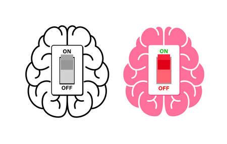 Brain power switch, turned on working fine, awake. Switch off negative thinking concept. Illustration isolated on white background. Illustration