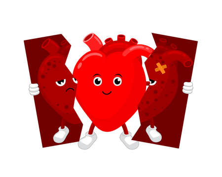Healthy heart character holding tear of unhealthy heart. Health care concept, before and after. Illustration isolated on white background.