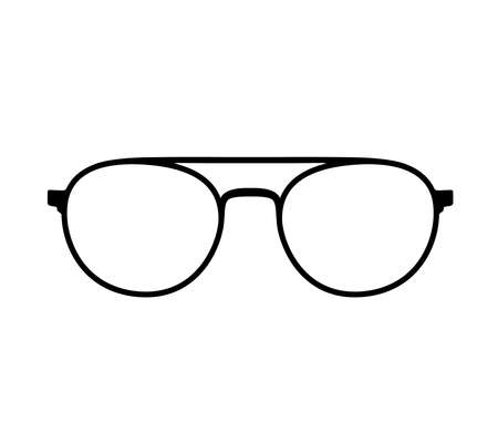 Eye glasses vector icon. Illustration flat style, silhouette isolated on white background.