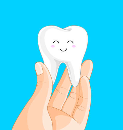 Hand holding cute tooth character. Human body part. Health protection concept. Vector illustration isolated on white background.