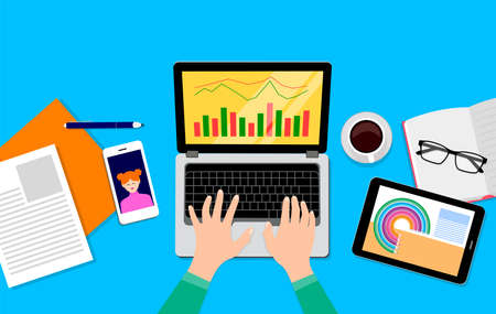 Top view of working on laptop. a paper and a cup of coffee. Business objectives goals progress improvement concept. Vector illustration on blue background. Illustration