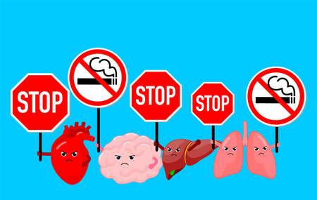 Cartoon character human organs holding stop and no smoking sign. Smoking effect on human internal organs. Health care concept. World no tobacco day. Vector illustration isolated on blue background.