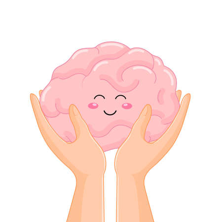 Hand holding human organ, brain. Health protection concept. Vector illustration isolated on white background.