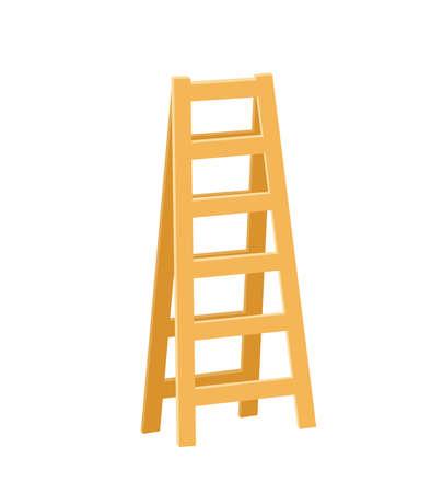 Cartoon wooden ladder. Icon design. Vector illustration Isolated on white background. Illustration