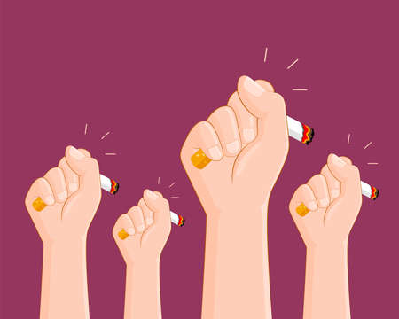 Human hands crushing cigarette. Quitting smoking concept.  World No Tobacco Day. illustration.