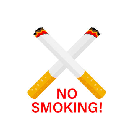 Cross shaped cigarette.  No smoking concept. Vector illustration for banner, poster. Isolated on white background