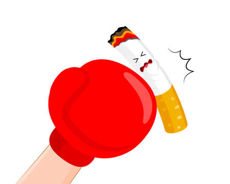 Boxing gloves or mitt punch a cigarette. Quitting smoking concept.  World No Tobacco Day.  Vector illustration isolated on white background. Illustration