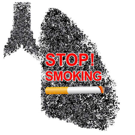 Cigarette in abstract human lung. Stop smoking concept. World no tobacco day. Smoking is harmful to human organs. Resulting in organ damage and premature. Illustration.