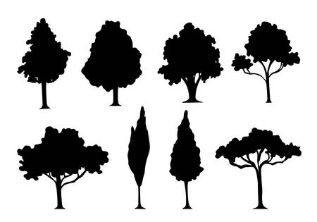 silhouette tree set. Vector illustration isolated on white background.