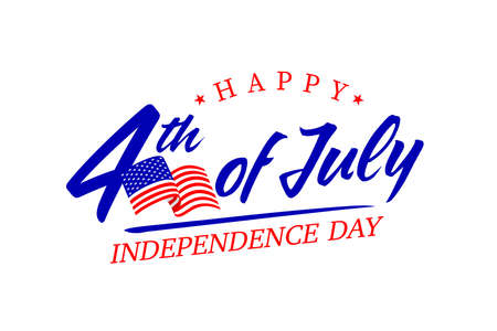 United States of America 4th of July, Independence Day. Calligraphic Fourth of July vector typography for banner or poster design. Illustration on white.