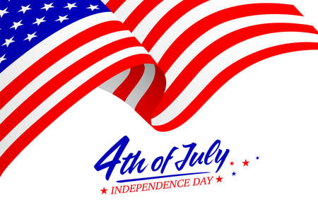 United States of America 4th of July, Independence Day. Calligraphic Fourth of July with flag. Vector typography for banner or poster design. Illustration on white.