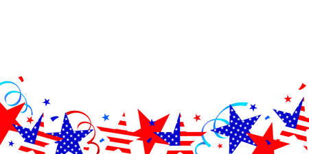 Stars in national colors background. Fourth of July holiday long horizontal border. USA Independence Day Decoration. Illustration. Illustration