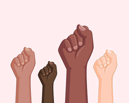 Black lives matter banner design with fists. Black and white hands together concept. Campaign against racial discrimination of dark skin color. Vector Illustration. Illustration