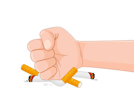 Stop smoking destroying cigarettes. Quit smoking concept. World no tobacco day. Vector illustration. Illustration